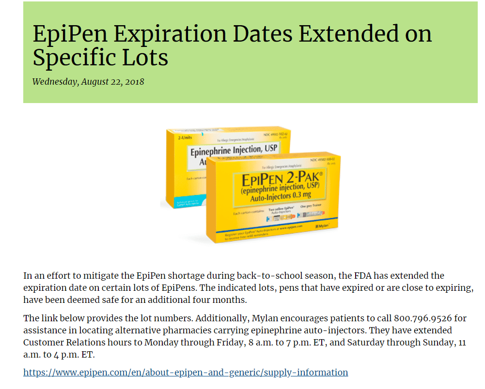 image001 EpiPen Expiration Dates Extended on Specific Lots