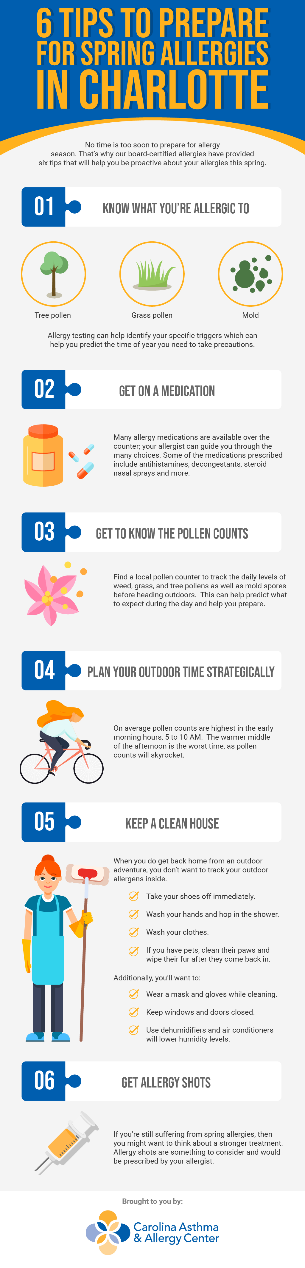 Infographic demonstrating six tips to prepare for spring allergies by Carolina Asthma & Allergy Center