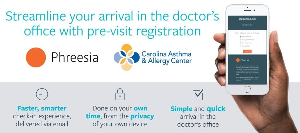 Phreesia web gfx Carolina Asthma & Allergy Center partners with Phreesia to provide patients an easier, convenient check-in process